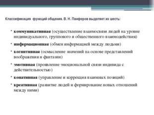 Классификация функций общения. В. Н. Панферов выделяет их шесть: коммуникатив
