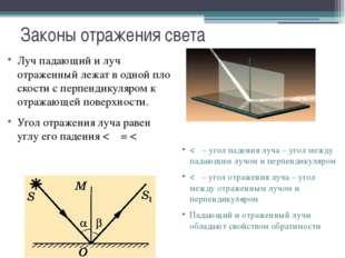 Законы отражения света Лучпадающий и луч отраженныйлежатводнойплоскости