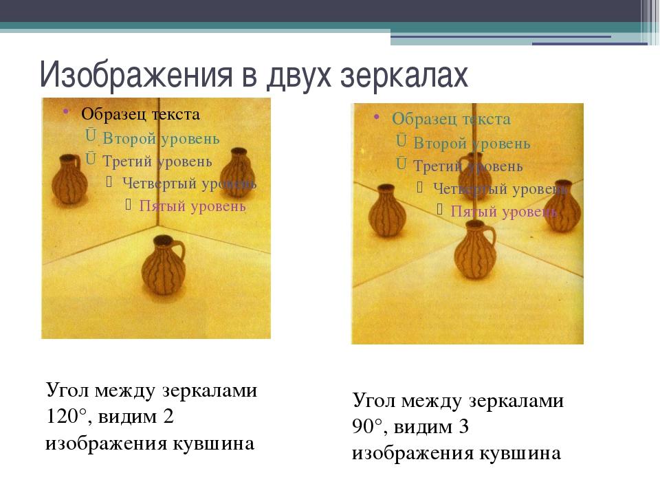 Изображения в двух зеркалах Угол между зеркалами 120°, видим 2 изображения ку...