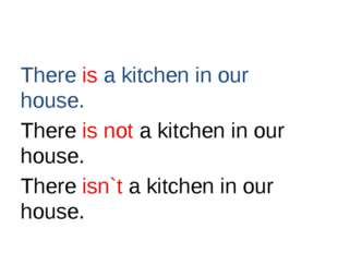 There is a kitchen in our house. There is not a kitchen in our house. There