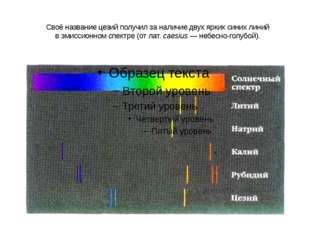 Своё название цезий получил за наличие двух ярких синих линий вэмиссионном с