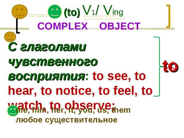 (to) V1/ Ving C глаголами чувственного восприятия: to see, to hear, to notice...
