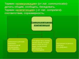 Термин «коммуникация» (от лат. communicatio)- делать общим, сообщать, беседов