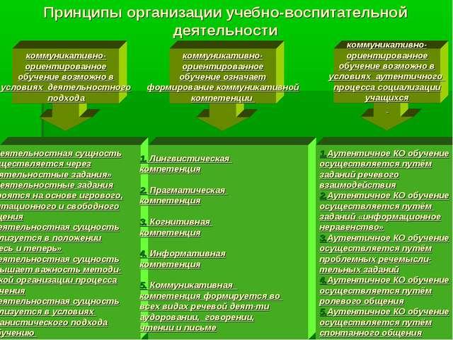 Принципы организации учебно-воспитательной деятельности коммуникативно- ориен...