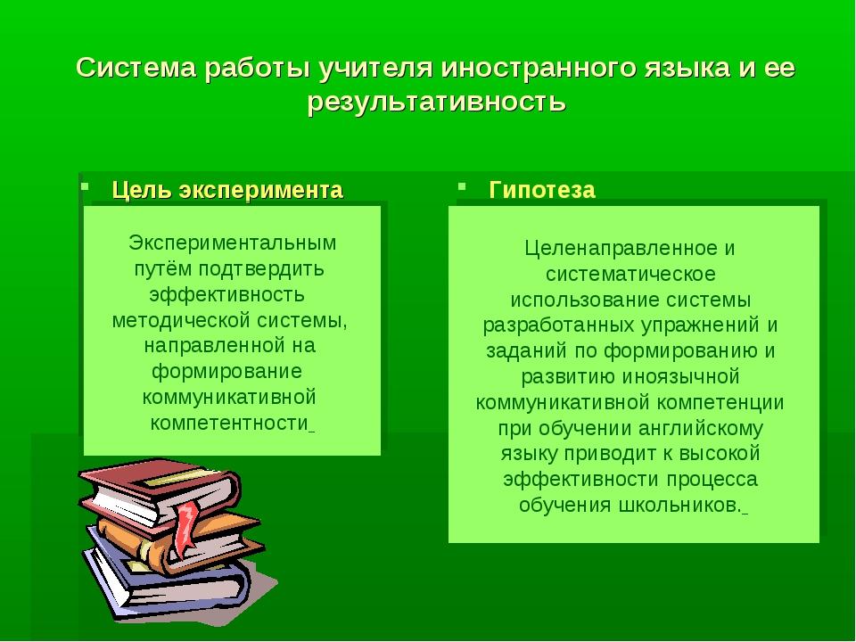 Система работы учителя иностранного языка и ее результативность Цель эксперим...