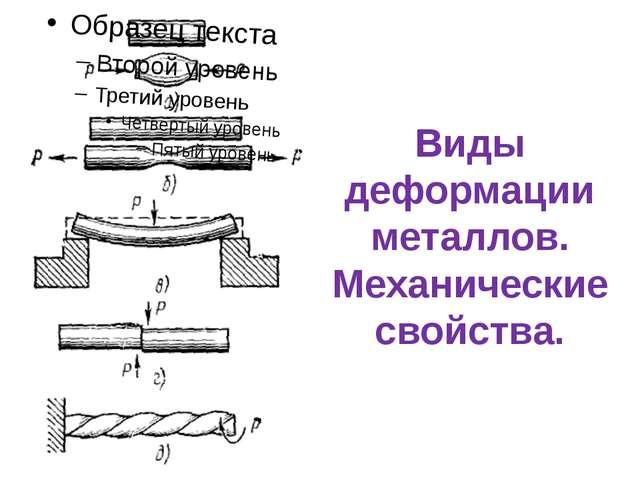 Виды деформации металлов. Механические свойства.