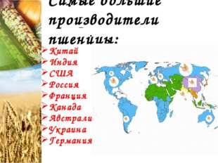 Самые большие производители пшеницы: Китай Индия США Россия Франция Канада Ав