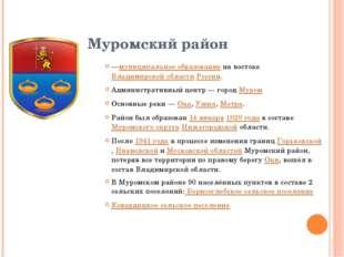 Муромский район —муниципальное образованиена востокеВладимирской областиРо