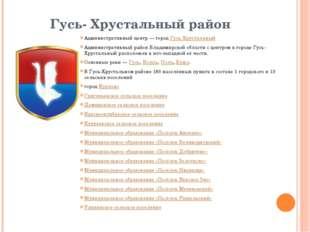Гусь- Хрустальный район Административный центр— городГусь-Хрустальный Админ
