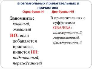 Правописание Н в отглагольных прилагательных и причастиях Одна буква Н Две бу