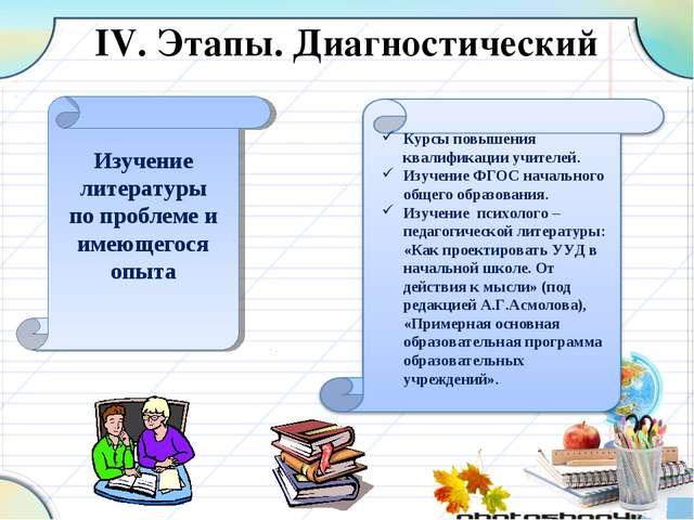 IV. Этапы. Диагностический Изучение литературы по проблеме и имеющегося опыта...