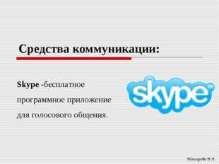 Средства коммуникации: Машарова В.А. Skype -бесплатное программное приложение