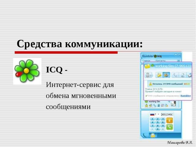 Средства коммуникации: Машарова В.А. ICQ - Интернет-сервис для обмена мгновен...