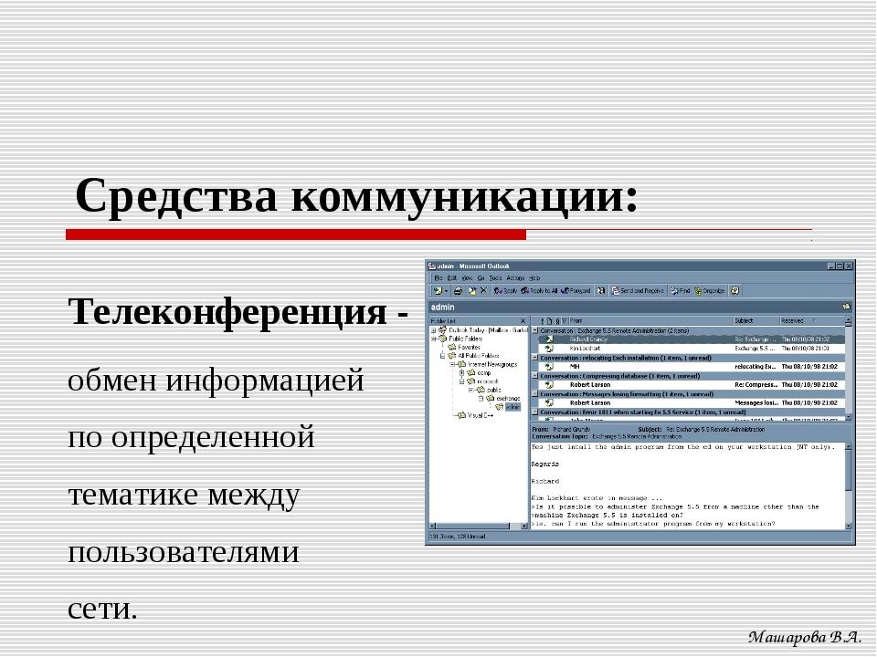 Средства коммуникации: Машарова В.А. Телеконференция - обмен информацией по о...