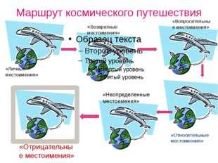 Маршрут космического путешествия «Возвратные местоимения» «Личные местоимения