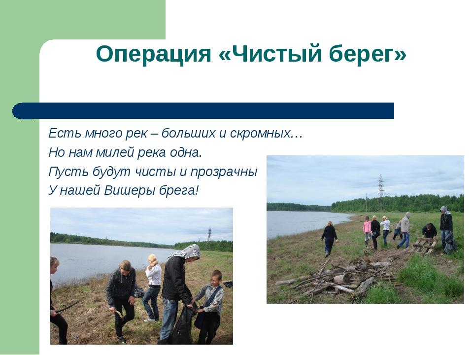 Операция «Чистый берег» Есть много рек – больших и скромных… Но нам милей рек...