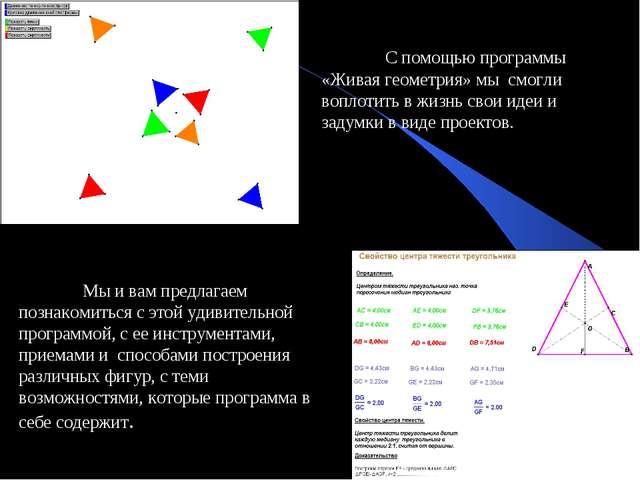 С помощью программы «Живая геометрия» мы смогли воплотить в жизнь свои идеи...