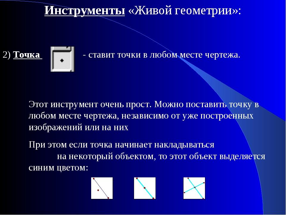 Инструменты «Живой геометрии»: 2) Точка - ставит точки в любом месте чертежа....