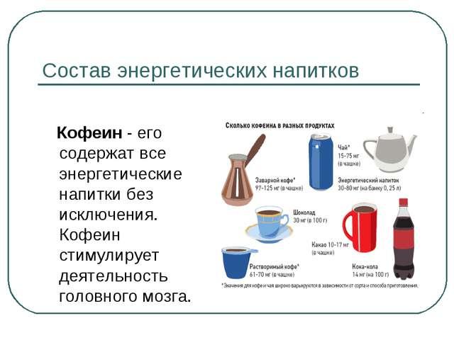 Состав энергетических напитков Кофеин - его содержат все энергетические напит...