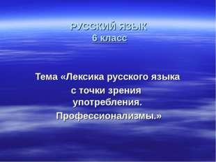 РУССКИЙ ЯЗЫК 6 класс Тема «Лексика русского языка с точки зрения употребления