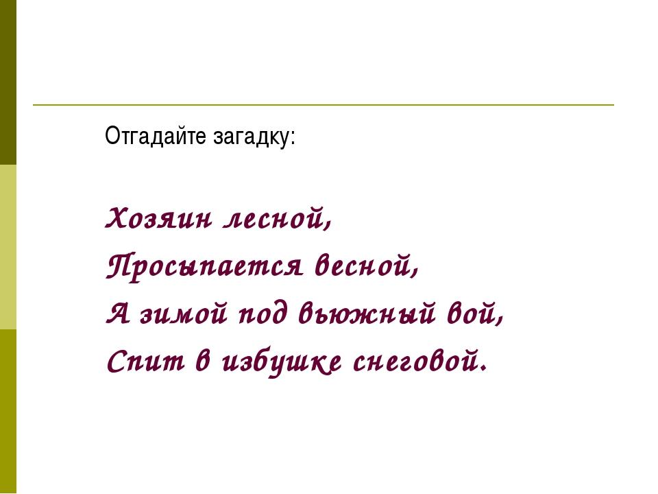 Отгадайте загадку: Хозяин лесной, Просыпается весной, А зимой под вью...