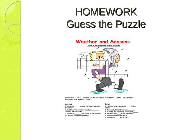 HOMEWORK Guess the Puzzle