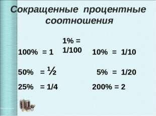 100% = 1 10% = 1/10 50% = ½ 5% = 1/20 25% = 1/4 200% = 2 1% = 1/100 Сокращен