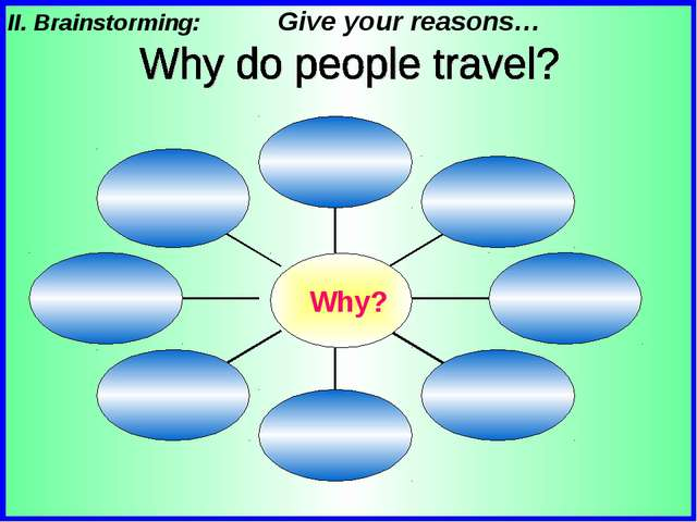 II. Brainstorming: Give your reasons…