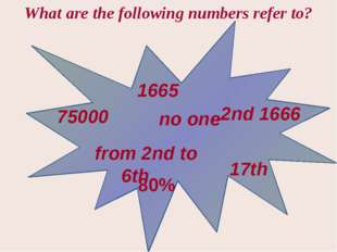 1665 75000 from 2nd to 6th no one 2nd 1666 17th 80% What are the following n