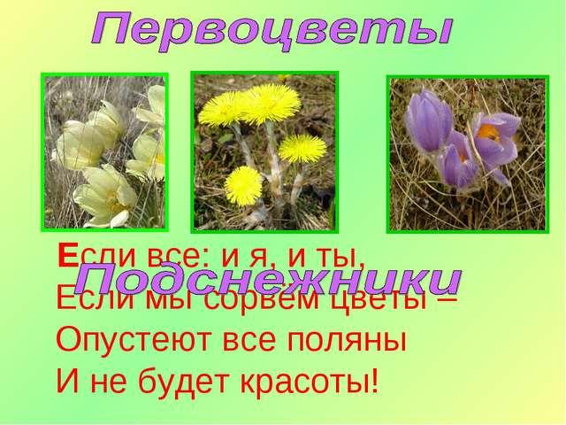 Если все: и я, и ты, Если мы сорвём цветы – Опустеют все поляны И не будет к...