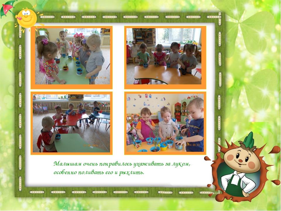 Малышам очень понравилось ухаживать за луком, особенно поливать его и рыхлить.