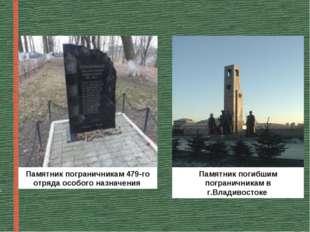 Памятник пограничникам 479-го отряда особого назначения Памятник погибшим пог