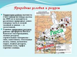 Территория района вытянута с юго-запада на северо-восток на 1000 км и находит