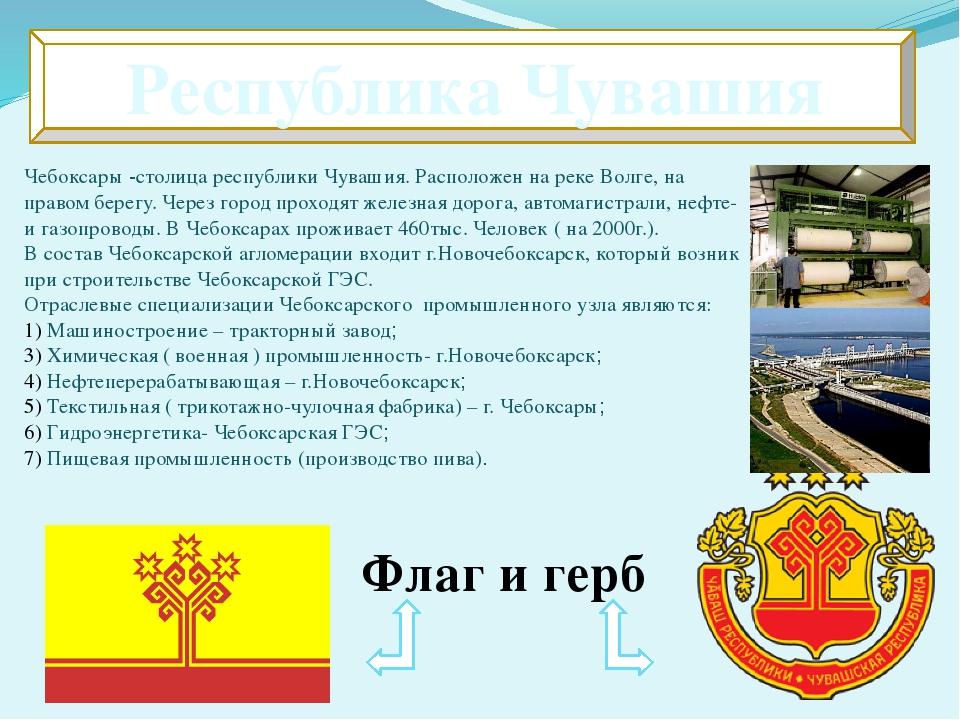 Республика Чувашия Чебоксары -столица республики Чувашия. Расположен на реке...