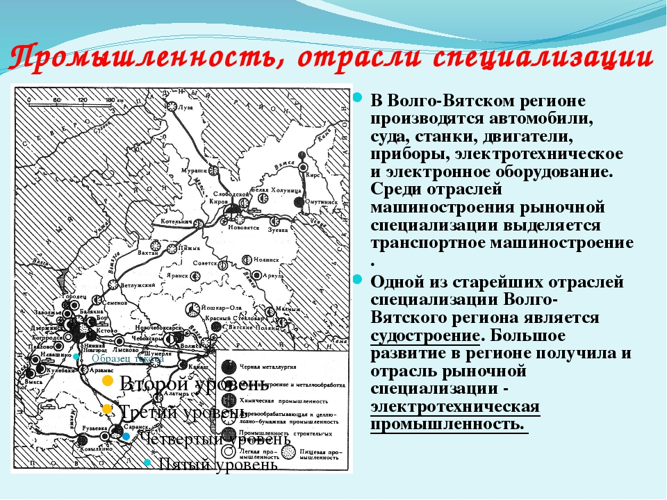 В Волго-Вятском регионе производятся автомобили, суда, станки, двигатели, при...