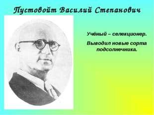 Пустовойт Василий Степанович Учёный – селекционер. Выводил новые сорта подсол