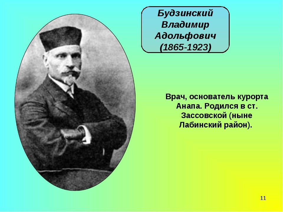 * Будзинский Владимир Адольфович (1865-1923) Врач, основатель курорта Анапа....