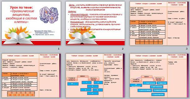 Презентация по биологии Органические вещества, входящие в состав клетки
