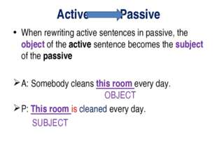 Active Passive When rewriting active sentences in passive, the object of the