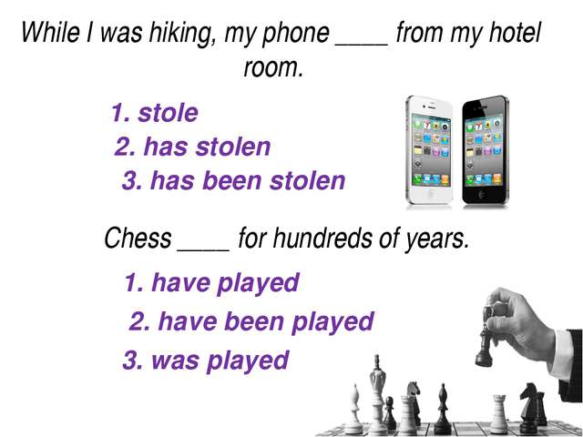 1. stole 2. has stolen 3. has been stolen While I was hiking, my phone____f...