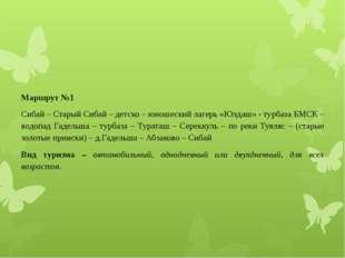 Маршрут №1 Сибай – Старый Сибай – детско – юношеский лагерь «Юлдаш» - турбаза