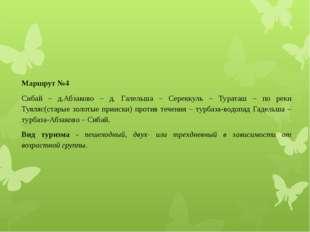 Маршрут №4 Сибай – д.Абзаково – д. Галельша – Сереккуль – Тураташ – по реки Т