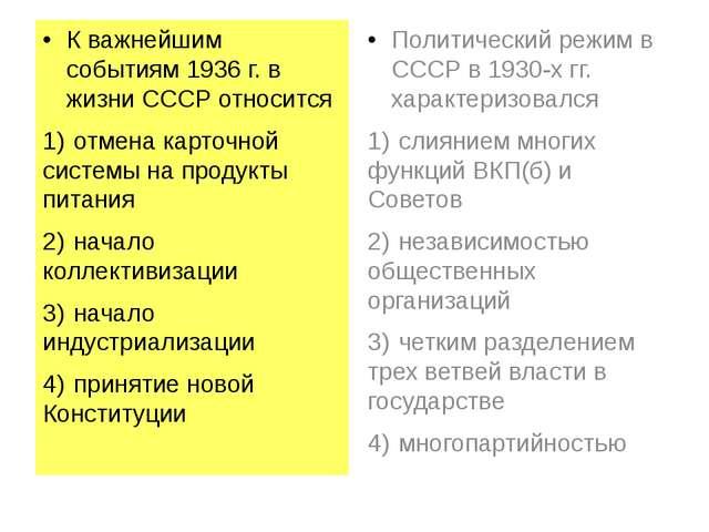 К важнейшим событиям 1936 г. в жизни СССР относится 1)отмена карточной систе...
