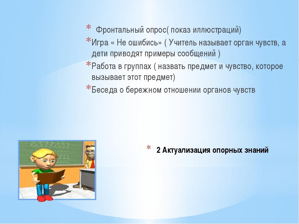 2 Актуализация опорных знаний Фронтальный опрос( показ иллюстраций) Игра « Не...