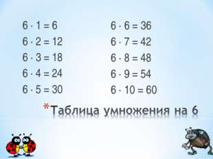 6 ∙ 1 = 6 6 ∙ 2 = 12 6 ∙ 3 = 18 6 ∙ 4 = 24 6 ∙ 5 = 30 6 ∙ 6 = 36 6 ∙ 7 = 42 6