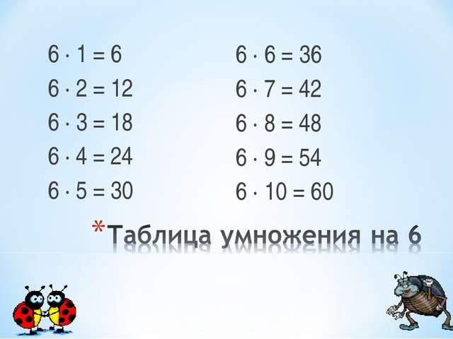 6 ∙ 1 = 6 6 ∙ 2 = 12 6 ∙ 3 = 18 6 ∙ 4 = 24 6 ∙ 5 = 30 6 ∙ 6 = 36 6 ∙ 7 = 42 6...