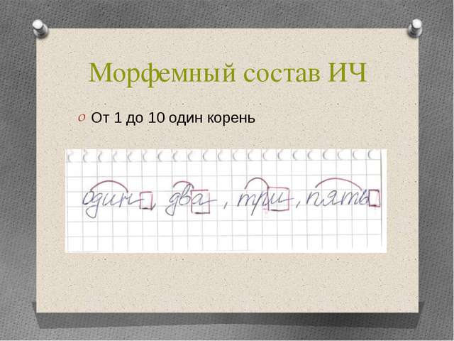 Морфемный состав ИЧ От 1 до 10 один корень