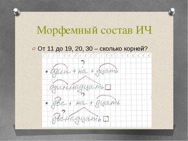 Морфемный состав ИЧ От 11 до 19, 20, 30 – сколько корней?