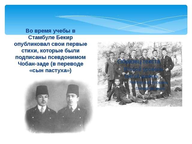 Во время учебы в Стамбуле Бекир опубликовал свои первые стихи, которые были п...