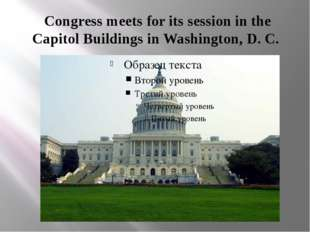 Congress meets for its session in the Capitol Buildings in Washington, D. C.